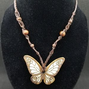 Brown/ivory butterfly necklace